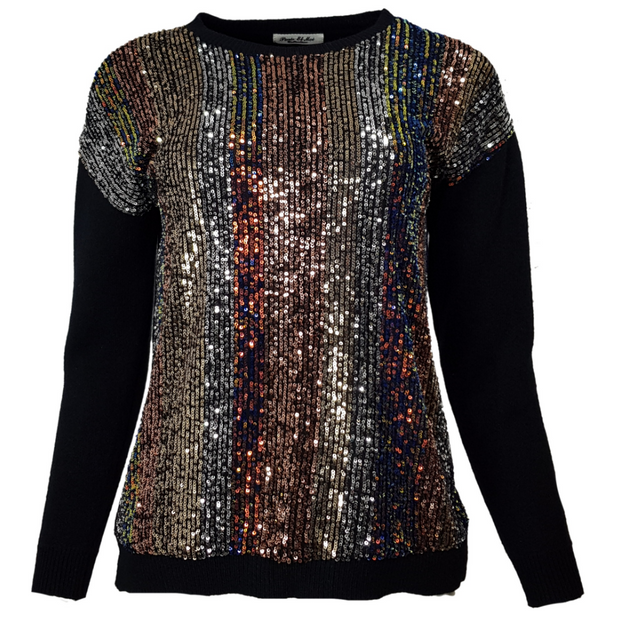 Front sequin round neck jumper