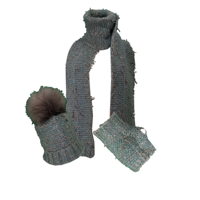 Chunky Metallic 3 Pieces Knit Hat Scarf and Gloves