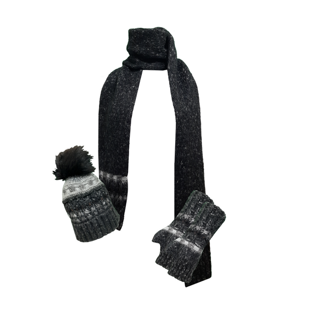 3 Pieces Spark Knit Hat Scarf and Gloves
