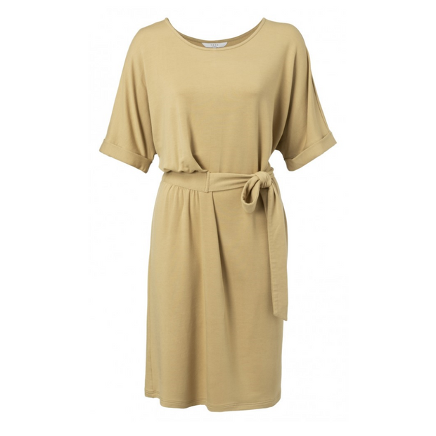 Midi dress with folded cuffs