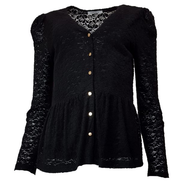 Lace embroidered front buttons top