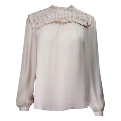 Smocked drape blouse with delicate ruffles