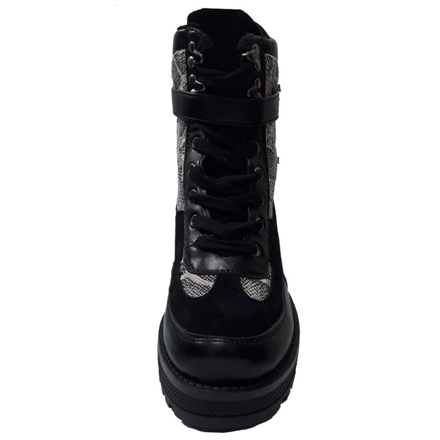 Heeled Lace Up Boots with Snake Pattern