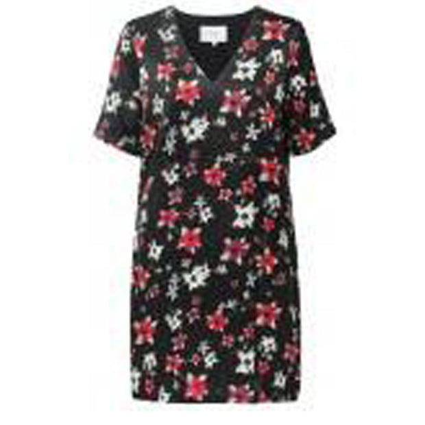 Straight V-neck dress flower print