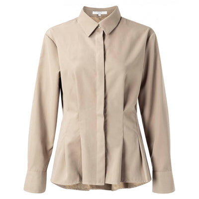 Suedine blouse with slightly dropped shoulder