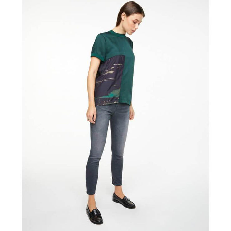 Deep Jade Top with Printed Panel