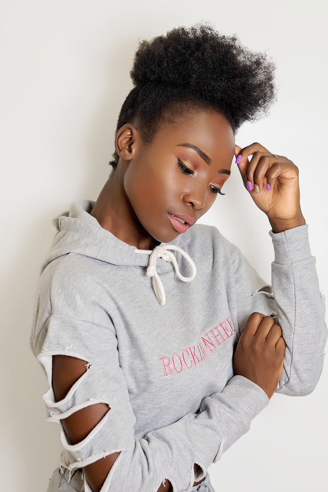 Rockingnheels Grey Ripped cropped hoodie ( Side View )