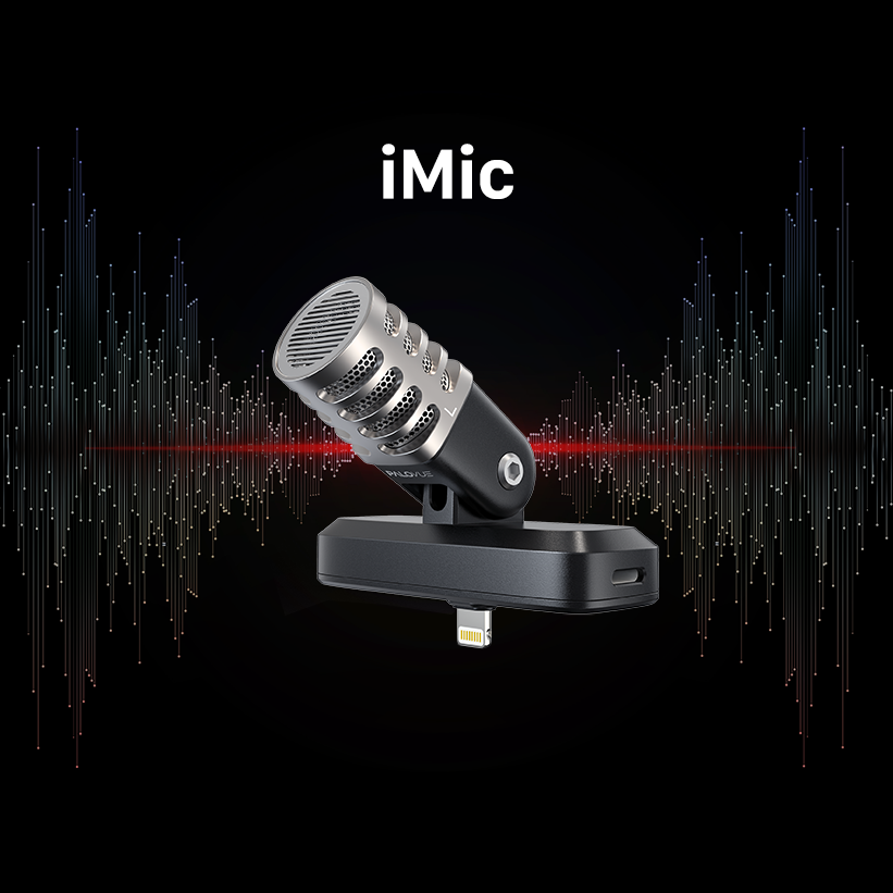 PALOVUE iMic Portable Microphone with Lightning Connector for iPhone/iPad, Professional Digital Stereo Condenser Mic with Charging Port and 3.5mm Headphones Jack for Recording, Apple MFi Certified