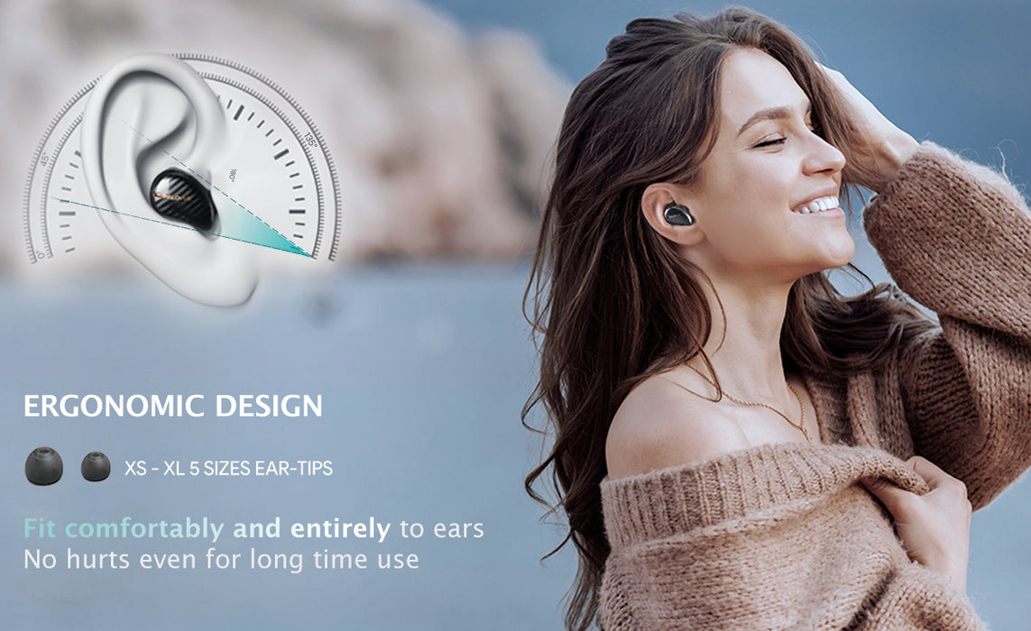 iSound feature 4: Ergonomic design. Those earbuds fit comfortably and entirely to ears , no hurts even for long time use.  Ear-tips from XS to XL provides a wild opption for all users.