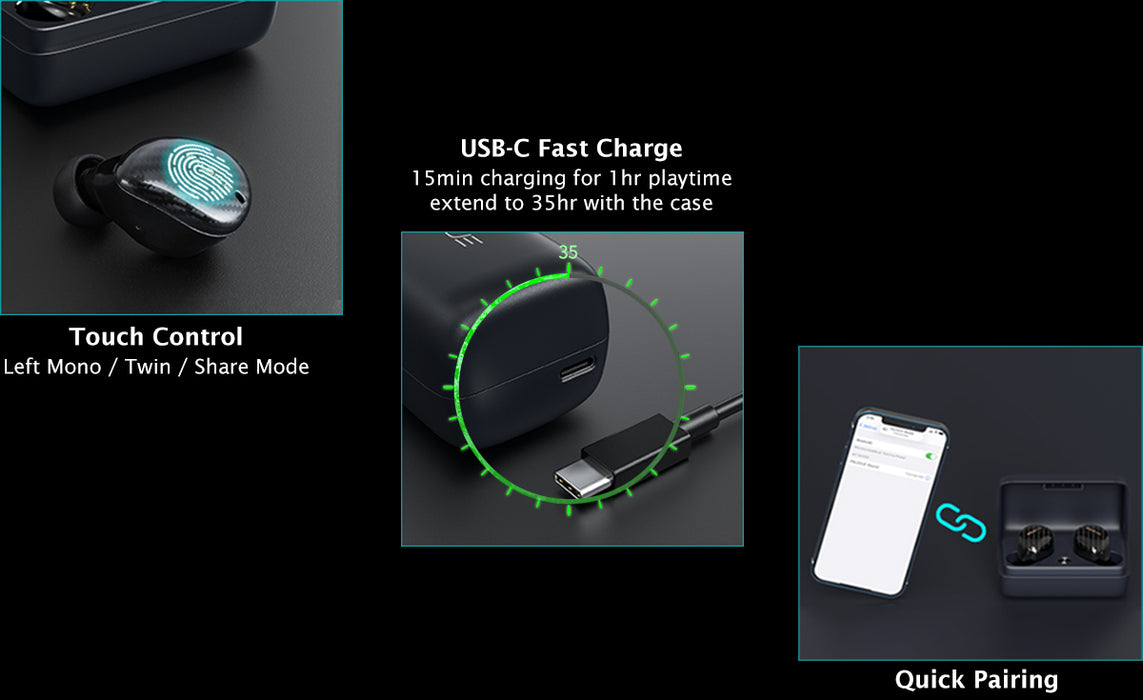 iSound detail number 2,Touch control in three modes: left mono mode, twin mode, and share mode. Detail number 3, USB-C fast cahrge, 15 minutes charging for 1 hour playtime, extend t 35 hours with the case. Detail number 4, quick pairing.