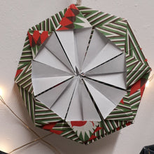 Load image into Gallery viewer, Green red & white snowflake handmade origami  Christmas decoration