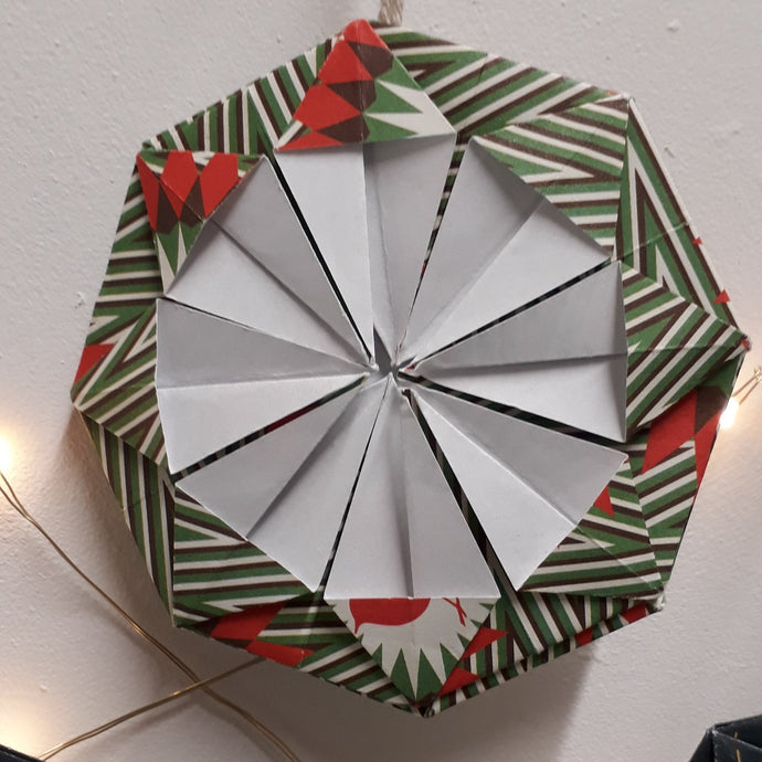 Green red & white snowflake handmade origami  Christmas decoration