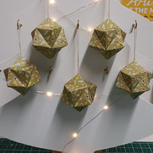 Load image into Gallery viewer, Multi coloured green origami handmade christmas decorations