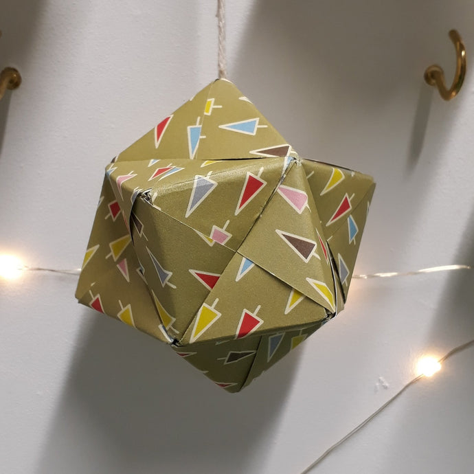 Multi coloured green origami handmade christmas decorations