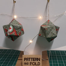 Load image into Gallery viewer, Large green, white and red robin handmade origami  Christmas decorations