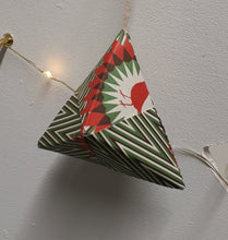 Load image into Gallery viewer, Small pyramid shaped green and white striped handmade origami Christmas bauble