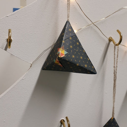 Small navy multi coloured pyramid  hand made origami Christmas decoration