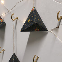Load image into Gallery viewer, Small navy multi coloured pyramid  hand made origami Christmas decoration