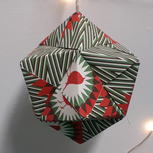Large green, white and red robin handmade origami  Christmas decorations