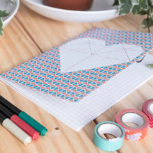 Load image into Gallery viewer, A5 Geometric & Heart Printed Notebook with Grid Pages
