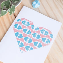 Load image into Gallery viewer, Coral and Teal Geometric Heart Designer A5 Notebook with Blank Pages