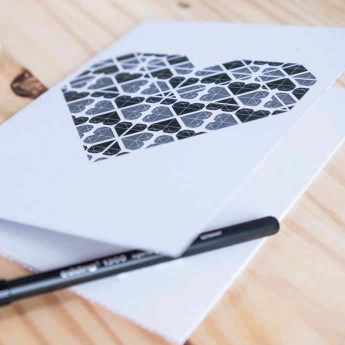 Black and Grey Heart Noteboook A5 Blank Pages