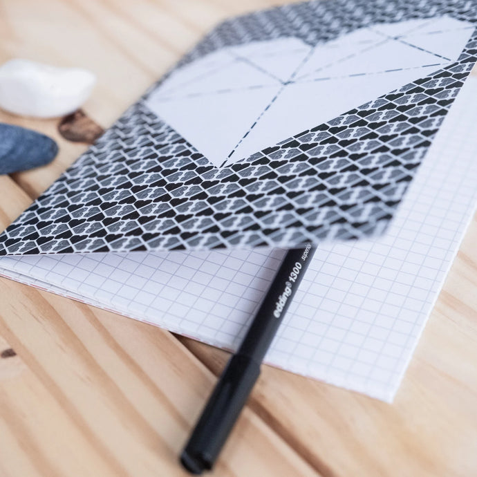 A5 Geometric & Heart Printed Notebook with Grid Pages