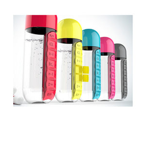 Water Bottle with Daily Pill Container Capsules (600ml)