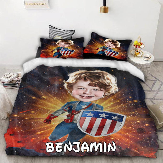 Personalized Hand-Drawing Kid's Photo Portrait Cozy Microfiber Bedding Set IV