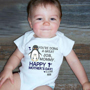 Personalisierter First Mother's Day Erster Muttertag Baby Strampler Pinguin Baby Strampler / Mama T-Shirt / Fleece Decke