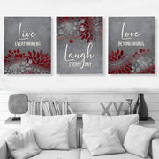 Live Laugh Love Druck Segeltuch Wandkunst Set II