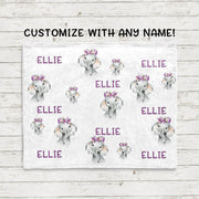 Personalisierte Name Lila Blumen Elefant Fleece Decken