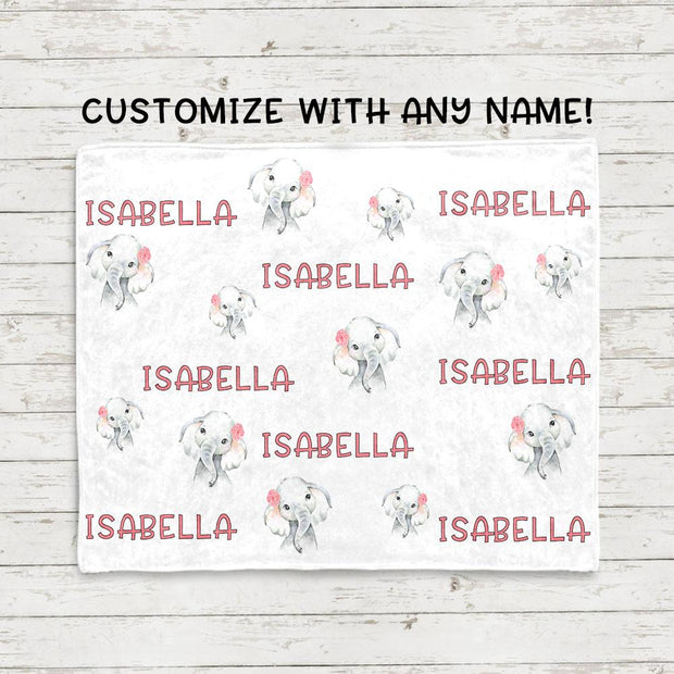 Personalisierte Name Rosa Blumen Elefant Fleece Decken