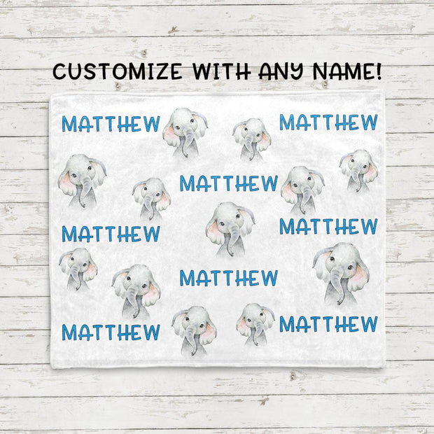 Personalisierte Name Baby Elefant Fleece Decken