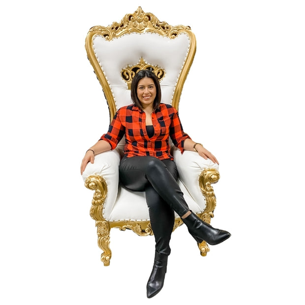 Crown Chair Gold And White