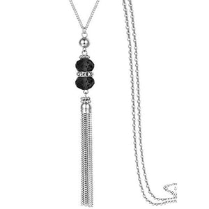 Crystal Bead Tassel Long Statement Necklace