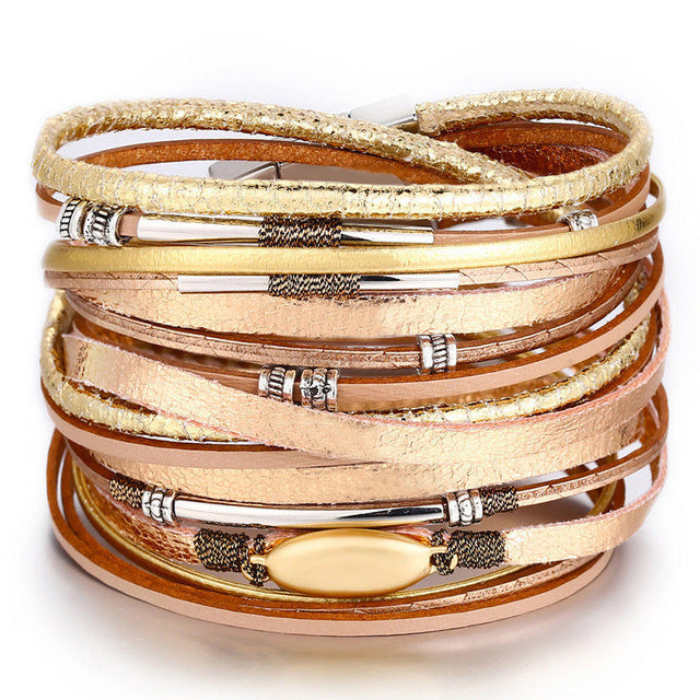 Rose Gold Bohemian Leather Statement Bracelets