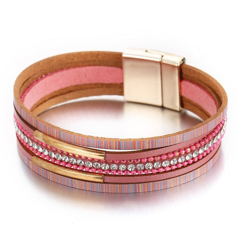 Hot Pink Beads & Leather Statement Bracelets