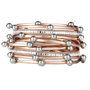 Luxury Rose Gold Beads & Leather Statement Bracelets