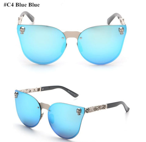 Cateye Oversized Polarized Sunglasses w/Skull Metal Frame