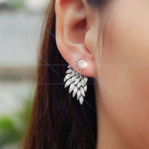 Women's Angel Wings Stud Earrings Rhinestone