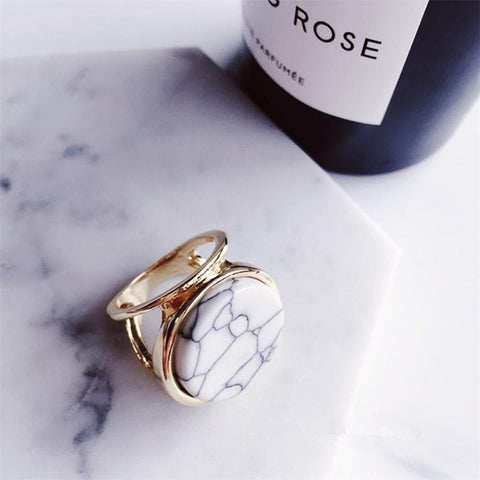 Marble Geometric Statement Ring