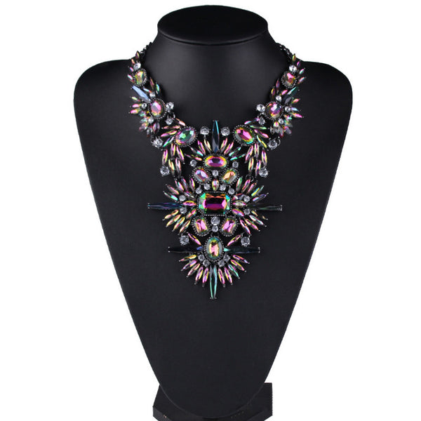Rhinestone Multicolored Chunky  Statement Necklace