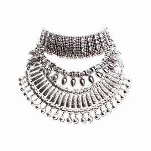 Boho Vintage Collar Coin Statement Necklace