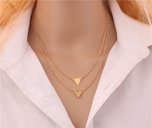 Gold Multilayer Triangle Pendant Necklace