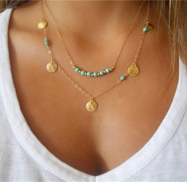 Gold Color Multilayer Coin Tassels & Beads Necklace