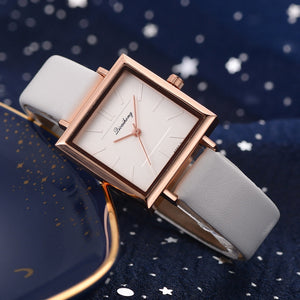 Contemporary Square Leather Watch