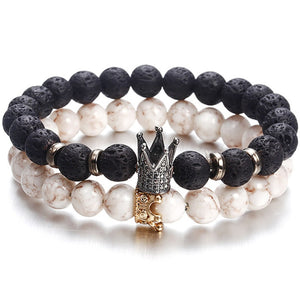 Lava Stone King & Queen Couples Bracelets