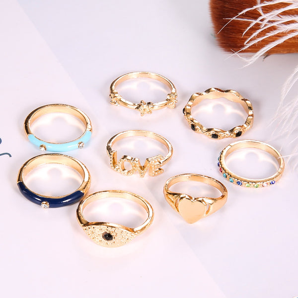 8 Pcs/ Set Bohemian Vintage Crystal Rings