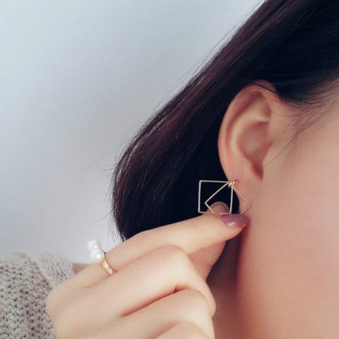 Retro Geometric Box Earrings